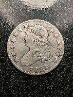 1820 CAPPED BUST QUARTER SCARCE EARLY SILVER TYPE CH F VF