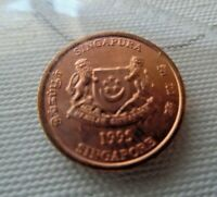 1995 SINGAPORE 1 CENT  EXOTIC COIN IN UNCIRCULATED CONDITION