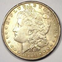 1901-S MORGAN SILVER DOLLAR $1 - CHOICE AU DETAILS REVERSE SCRATCHES - LUSTER