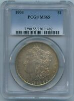 1904 P PCGS MINT STATE 65 MORGAN SILVER DOLLAR $1 PCGS MINT STATE 65 1904-P MONSTER RAINBOW GEM