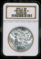 1890-S MORGAN NGC MINT STATE 64 REDFIELD COLLECTION SILVER DOLLAR COIN SAN FRANCISCO BU