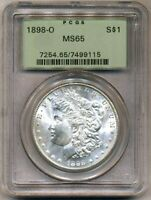 1898-O MORGAN PCGS MINT STATE 65 OGH UNCIRCULATED SILVER DOLLAR COIN BU NEW ORLEANS MINT