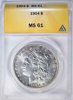 1904 MORGAN DOLLAR ANACS MINT STATE 61
