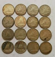 1960'S VG TO AU LOT OF 16 CANADIAN 80  SILVER 10 CENT DIMES