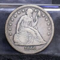 1860-O LIBERTY SEATED DOLLAR - FINE DETAILS 26735