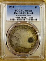 1795 PCGS VG DETAILS PLUGGED CENTERED DRAPED BUST DOLLAR
