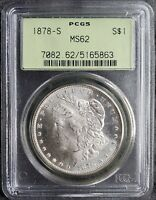 1878-S MORGAN SILVER DOLLAR - PCGS CERTIFIED MINT STATE 62 OGH MINT CONDITION