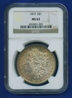1879 P NGC MINT STATE 63 MORGAN DOLLAR $1 US SILVER  DATE 1879-P NGC MINT STATE 63