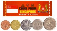 5 SINGAPORE COIN LOT. DIFFER COLLECTIBLE COINS FROM ASIA. FO