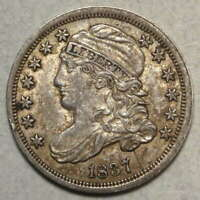 1837 CAPPED BUST DIME, JR-4, CHOICE ALMOST UNCIRCULATED,  TYPE COIN  1118-04