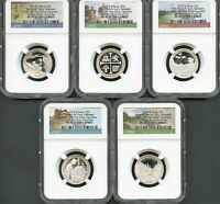2019-S 10 COIN SILVER SET NGC PF 70 UC 1C - 5C - 10C - 50C - $1 - 5 QUARTERS