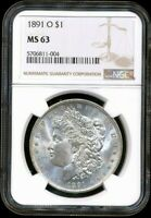 1891-O MORGAN NGC MINT STATE 63 UNCIRCULATED SILVER DOLLAR COIN  NEW ORLEANS MINT $1