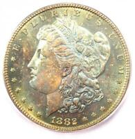 1882-P 1882 MORGAN SILVER DOLLAR $1 RAINBOW - ICG MINT STATE 65 PL OBVERSE - $500 VALUE