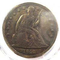 1840 SEATED LIBERTY SILVER DOLLAR $1 - PCGS VF DETAILS -  CERTIFIED COIN