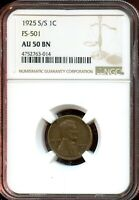 1925 S/S 1C FS-501 NGC AU 50 BNABOUT UNC 50 BROWN LINCOLN WHEAT CENT TA791