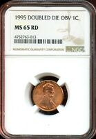 1955 DOUBLED DIE OBV 1C NGC MINT STATE 65 RDMINT STATE 65 RED LINCOLN CENT TA793