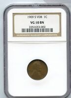 1909-S VDB LINCOLN WHEAT CENT NGC VG10 BN 1C COIN - JD626