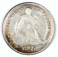 1869-S SEATED LIBERTY HALF DIME VINTAGE SILVER H10C 5C