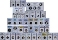 44 COIN CERTIFIED LOT PCGS NGC VAM MS PR PF SILVER 5C 25C 50