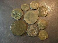 9 COINS PIRATE  ANCIENT ANTIQUE BRONZE MEDIEVAL 1300'S 1800'
