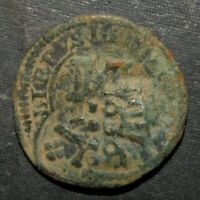 COLONIAL COIN PIRATE ANCIENT ANTIQUE BRONZE SPAIN MEDIEVAL 1