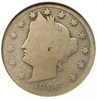 1886 LIBERTY NICKEL 5C - ANACS G4 DETAILS GOOD -  KEY DATE CERTIFIED COIN