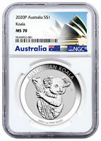 2020 P AUSTRALIA 1 OZ SILVER KOALA $1 COIN NGC MS70 OPERA HOUSE LABEL SKU60332
