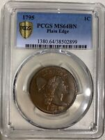 1795 LARGE CENT SHELDON-78 PCGS MINT STATE 64BN  REGISTRY SET COIN