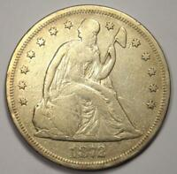 1872 SEATED LIBERTY SILVER DOLLAR $1 - STRONG DETAILS -  EARLY TYPE COIN