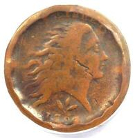 1793 FLOWING HAIR WREATH CENT 1C S-9 - ANACS F12 DETAIL FINE -  COIN