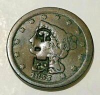 1855 BRAIDED HAIR COPPER HALF CENT COUNTER STAMPED G.F.
