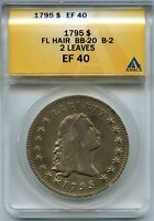 1795 FLOWING HAIR SILVER DOLLAR ANACS EF40 BB-20 B-2 2 LEAVES $1 COIN - JD751