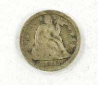 1852 P SEATED LIBERTY DIME 90 SILVER COIN FULL LIBERTY W/ ARROWS VF LOT BX