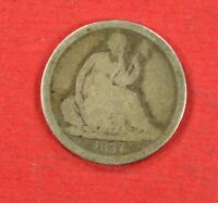 1837 P SEATED LIBERTY DIME LARGE DATE NO STARS GOOD FIRST YEAR KEY DATE LOT BX