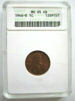 1946-D LINCOLN WHEAT CENT 1C PENNY - GRADED ANACS MINT STATE 65 RB