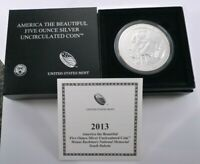 2013 P ATB FIVE OUNCE SILVER UNCIRCULATED MOUNT RUSHMORE W/O