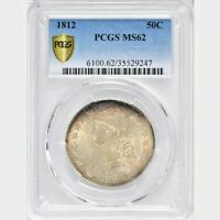 1812 50C PCGS MINT STATE 62 CAPPED BUST HALF DOLLAR MOSTLY WHITE W/LIGHT GOLDEN RIMS