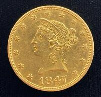 1847 O $10 LIBERTY HEAD GOLD EAGLE COIN   AU