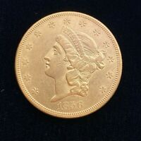 1856 $20 LIBERTY HEAD GOLD DOUBLE EAGLE COIN   AU