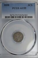 1858 THREE CENT SILVER TYPE TWO  PCGS AU55