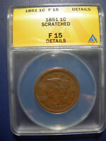 1851 BRAIDED HAIR LARGE CENT 1851 ANACS FINE 15 F15 DETAILS USA COPPER PENNY