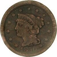 1850 BRAIDED HAIR LARGE CENT FINE OBVERSE DAMAGED REVERSE SEE PHOTOS C497