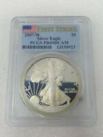 2007-W AMERICAN SILVER EAGLE PR69 DCAM PCGS GRADED PROOF 69 DEEP CAMEO