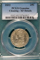 1833 PCGS GENUINE CLEANING XF DETAILS CAPPED BUST QUARTER  B