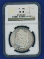1881 P NGC MINT STATE 64 MORGAN SILVER DOLLAR $1 BETTER DATE 1881-P NGC MINT STATE 64 SUPER PQ