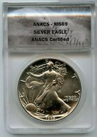 1989 AMERICAN SILVER EAGLE 1 OZ ANACS MINT STATE 69 $1 COIN CERTIFIED - JD883