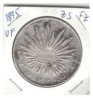 1895 MEXICO ZS FZ SILVER 8 REALES CAP & RAYS IN VF CONDITION