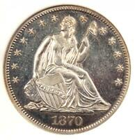 1870 PROOF SEATED LIBERTY HALF DOLLAR 50C   ANACS PR60 DETAIL  PF60     COIN