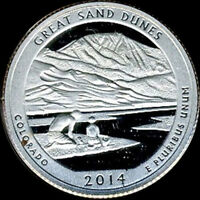 2014 S SILVER GREAT SAND DUNES NATIONAL PARK  DEEP CAMEO GEM