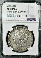1899 S MORGAN SILVER DOLLAR EXTRA FINE NGC EXTRA FINE  DETAILS CLEANED